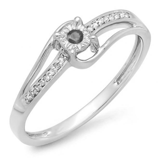 0.10 Carat (ctw) 10k White Gold Round White & Black Diamond Wave Ladies Bridal Promise Engagement Ring 1/5 CT