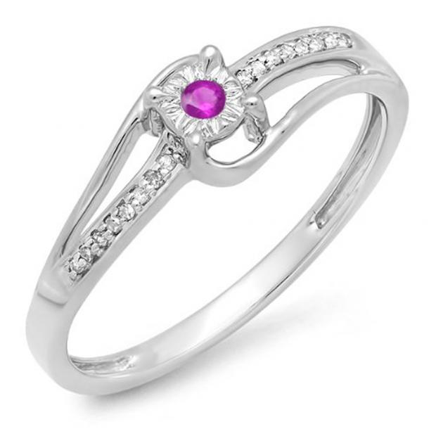 0.10 Carat (ctw) 10k White Gold Round White Diamond & Pink Sapphire Wave Ladies Bridal Promise Engagement Ring 1/5 CT