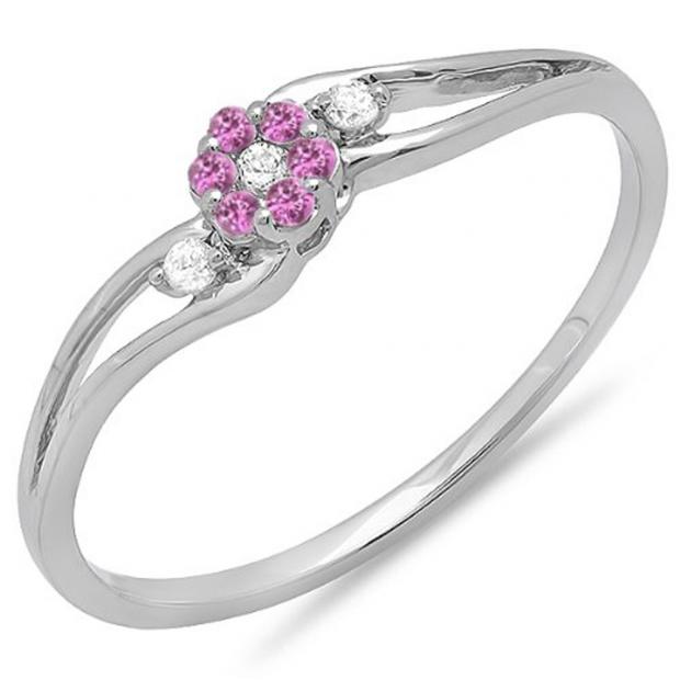0.10 Carat (ctw) 18k White Gold Round White Diamond & Pink Sapphire Ladies Bridal Swirl Split Shank Cluster Promise Ring 1/10 CT