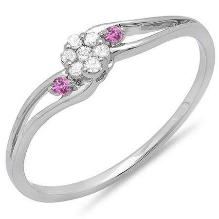 0.10 Carat (ctw) 18k White Gold Round White Diamond & Pink Sapphire Ladies Bridal Swirl Split Shank Cluster Promise Ring 1/10 CT