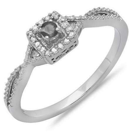 0.15 Carat (ctw) 10k White Gold Round Cut Black and White Diamond Ladies Crossover Split Shank Engagement Bridal Promise Ring