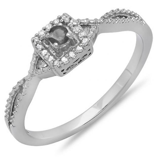 0.15 Carat (ctw) 14k White Gold Round Cut Black and White Diamond Ladies Crossover Split Shank Engagement Bridal Promise Ring