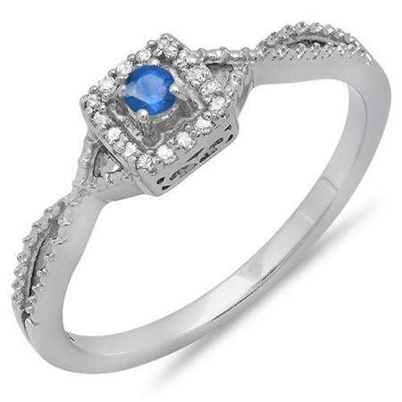 0.15 Carat (ctw) 10k White Gold Round Cut White Diamond & Blue Sapphire Ladies Crossover Split Shank Engagement Bridal Promise Ring