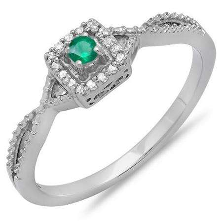 0.15 Carat (ctw) 18k White Gold Round Cut White Diamond & Green Emerald Ladies Crossover Split Shank Engagement Bridal Promise Ring