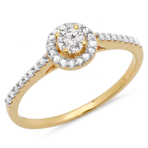 0.50 Carat (ctw) 10k Yellow Gold Round Cut Diamond Ladies Engagement Bridal Halo Ring 1/2 CT