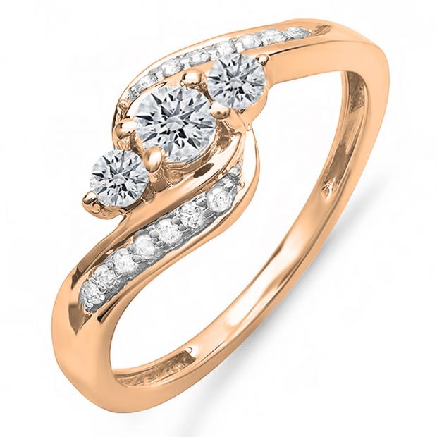 0.50 Carat (ctw) 10k Rose Gold Round Diamond Ladies Swirl Engagement 3 Stone Bridal Ring 1/2 CT