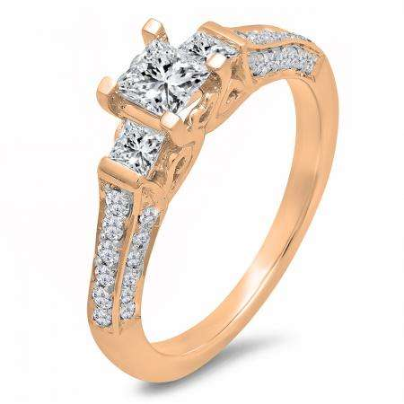 1.00 Carat (ctw) 10k Rose Gold Princess & Round 3 Stone Diamond Ladies Bridal Engagement Ring
