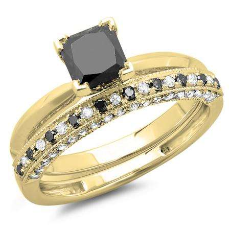 1.50 Carat (ctw) 10K Yellow Gold Princess Cut Black & Round White Diamond Ladies Bridal Solitaire Engagement Ring With Matching Millgrain Wedding Band Set 1 1/2 CT