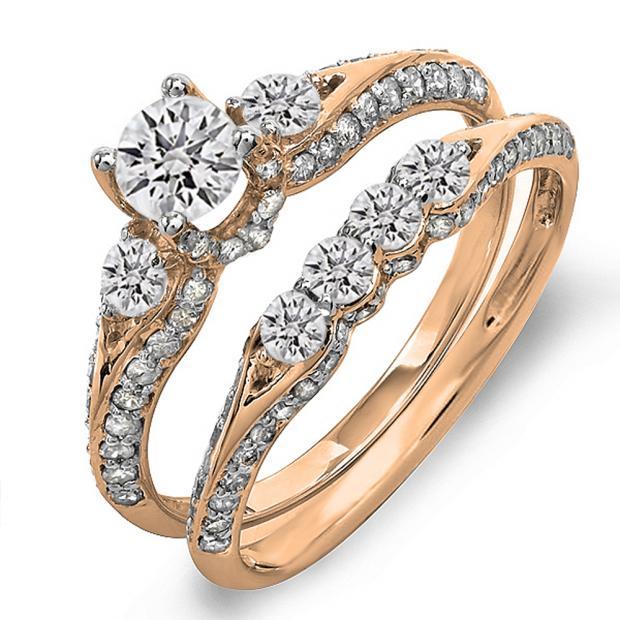 1.45 Carat (ctw) 18k Rose Gold Round Diamond Ladies 3 Stone Bridal Engagement Ring Set With Matching Band
