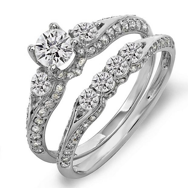 1.45 Carat (ctw) 18k White Gold Round Diamond Ladies 3 Stone Bridal Engagement Ring Set With Matching Band