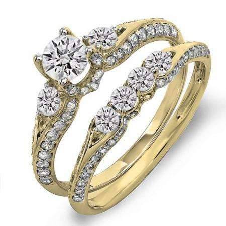 1.45 Carat (ctw) 18k Yellow Gold Round Diamond Ladies 3 Stone Bridal Engagement Ring Set With Matching Band