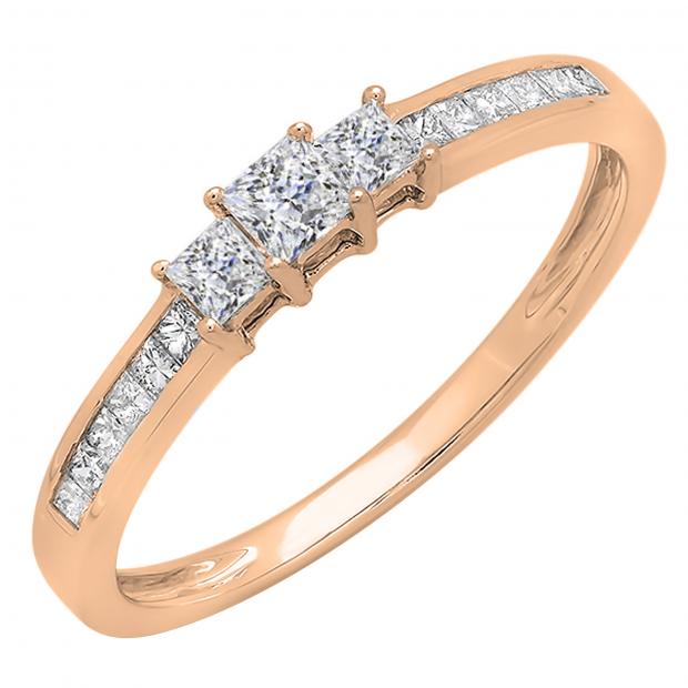 0.45 Carat (ctw) 14k Rose Gold Princess Cut Diamond Ladies Bridal 3 Stone Engagement Ring 1/2 CT