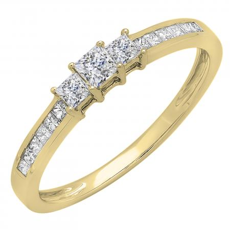 0.45 Carat (ctw) 14k Yellow Gold Princess Cut Diamond Ladies Bridal 3 Stone Engagement Ring 1/2 CT