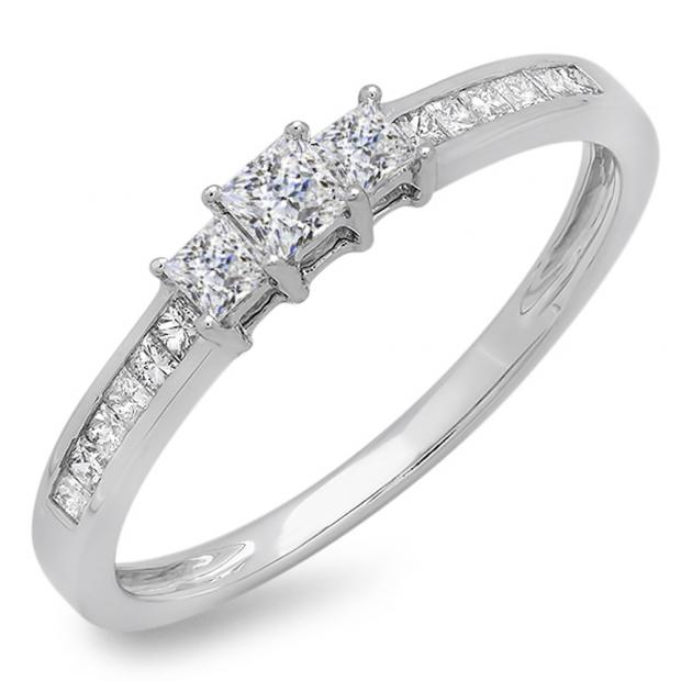 0.45 Carat (ctw) 18k White Gold Princess Cut Diamond Ladies Bridal 3 Stone Engagement Ring 1/2 CT
