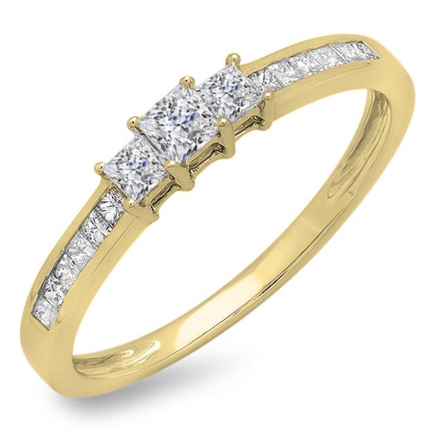 0.45 Carat (ctw) 18k Yellow Gold Princess Cut Diamond Ladies Bridal 3 Stone Engagement Ring 1/2 CT