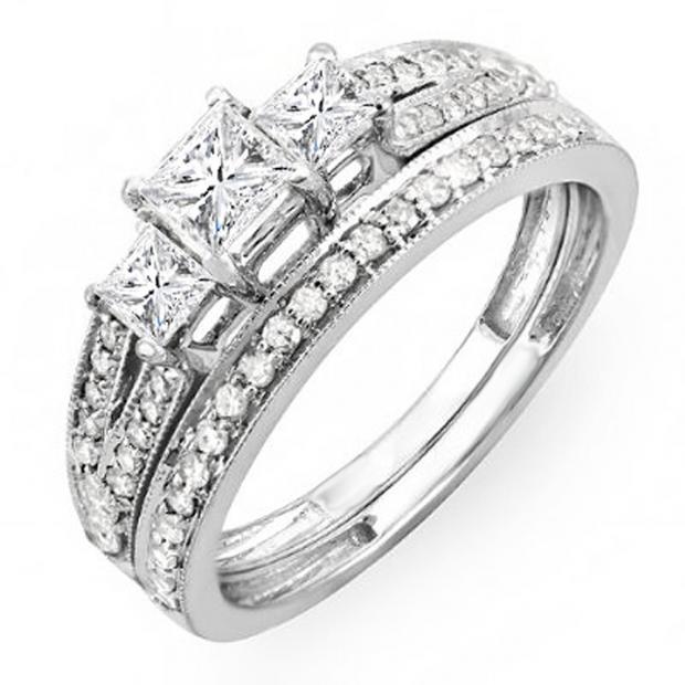 1.00 Carat (ctw) 10k White Gold Princess Cut 3 Stone Diamond Ladies Engagement Bridal Ring Set Matching Band 1 CT