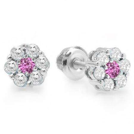 0.40 Carat (ctw) 10K White Gold Round Cut White Diamond & Pink Sapphire Ladies Cluster Flower Stud Earrings
