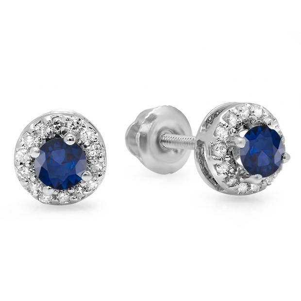 0.45 Carat (ctw) 10K White Gold Round Blue Sapphire & White Diamond Ladies Halo Style Stud Earrings 1/2 CT