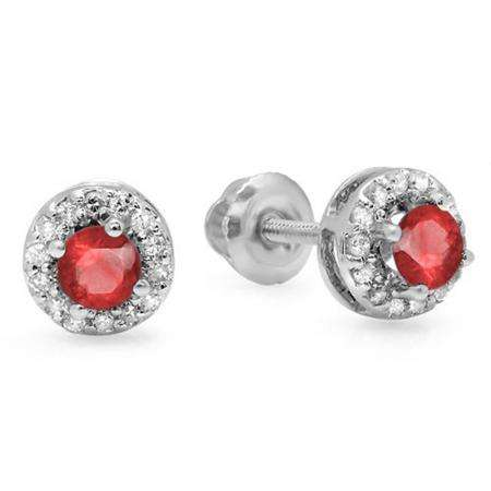0.45 Carat (ctw) 14K White Gold Round Ruby & White Diamond Ladies Halo Style Stud Earrings 1/2 CT