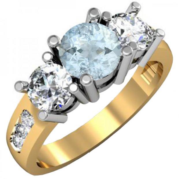 2.00 Carat (ctw) 10K Yellow Gold Round Aquamarine & Diamond Ladies 3 Stone Engagement Bridal Ring 2 CT