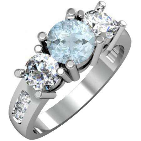 2.00 Carat (ctw) 14K White Gold Round Aquamarine & Diamond Ladies 3 Stone Engagement Bridal Ring 2 CT