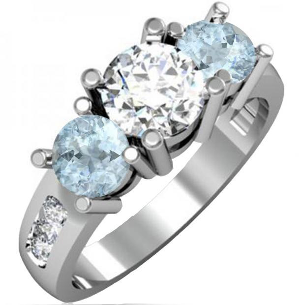 2.00 Carat (ctw) 10K White Gold Round Aquamarine & Diamond Ladies 3 Stone Engagement Bridal Ring 2 CT