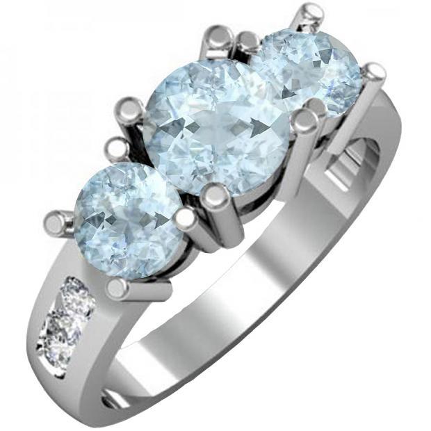 1.90 Carat (ctw) 10K White Gold Round Aquamarine & Diamond Ladies 3 Stone Engagement Bridal Ring