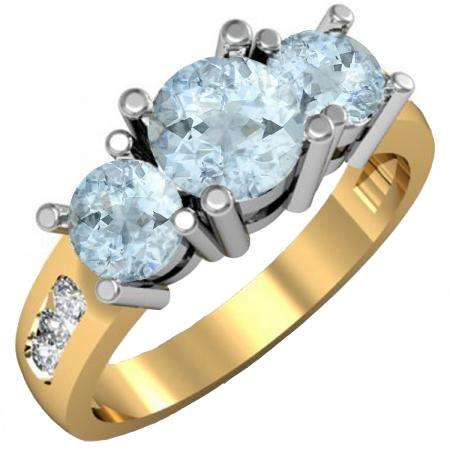 1.90 Carat (ctw) 14K Yellow Gold Round Aquamarine & Diamond Ladies 3 Stone Engagement Bridal Ring