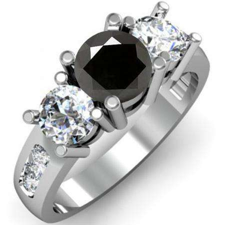 2.00 Carat (ctw) 18K White Gold Round Black & White Diamond Ladies 3 Stone Engagement Bridal Ring 2 CT
