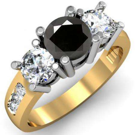 2.00 Carat (ctw) 14K Yellow Gold Round Black & White Diamond Ladies 3 Stone Engagement Bridal Ring 2 CT