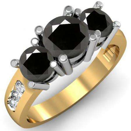 2.00 Carat (ctw) 10K Yellow Gold Round Black & White Diamond Ladies 3 Stone Engagement Bridal Ring 2 CT