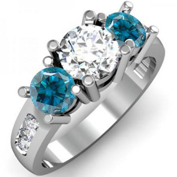 2.00 Carat (ctw) 18K White Gold Round Blue & White Diamond Ladies 3 Stone Engagement Bridal Ring 2 CT