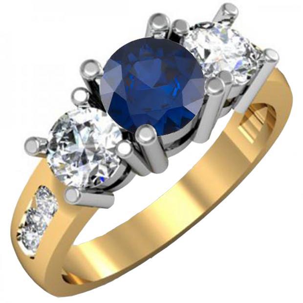 2.00 Carat (ctw) 10K Yellow Gold Round Blue Sapphire & White Diamond Ladies 3 Stone Engagement Bridal Ring 2 CT