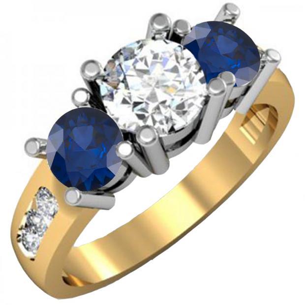 2.00 Carat (ctw) 18K Yellow Gold Round Blue Sapphire & White Diamond Ladies 3 Stone Engagement Bridal Ring 2 CT