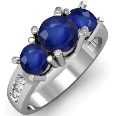 2.00 Carat (ctw) 18K White Gold Round Blue Sapphire & White Diamond Ladies 3 Stone Engagement Bridal Ring 2 CT