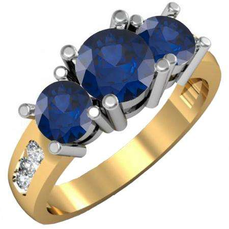 2.00 Carat (ctw) 18K Yellow Gold Round Blue Sapphire & White Diamond Ladies 3 Stone Engagement Bridal Ring 2 CT