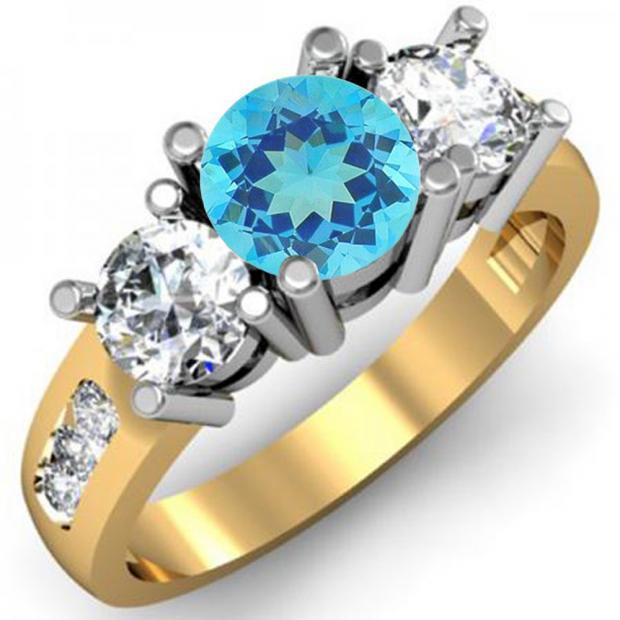 2.00 Carat (ctw) 14K Yellow Gold Round Blue Topaz & White Diamond Ladies 3 Stone Engagement Bridal Ring 2 CT