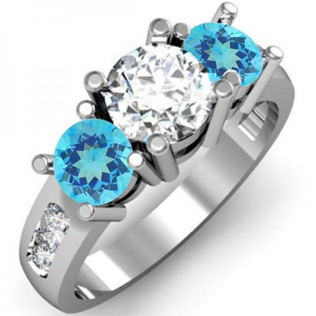2.00 Carat (ctw) 10K White Gold Round Blue Topaz & White Diamond Ladies 3 Stone Engagement Bridal Ring 2 CT