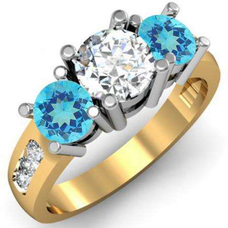2.00 Carat (ctw) 14K Yellow Gold Round Blue Topaz & White Diamond Ladies 3 Stone Engagement Bridal Ring 2 CT