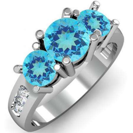 2.00 Carat (ctw) 18K White Gold Round Blue Topaz & White Diamond Ladies 3 Stone Engagement Bridal Ring 2 CT