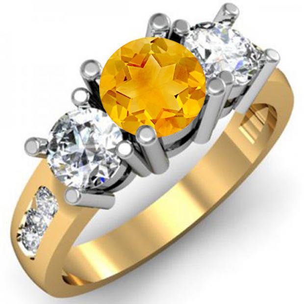 2.00 Carat (ctw) 10K Yellow Gold Round Citrine & White Diamond Ladies 3 Stone Engagement Bridal Ring 2 CT