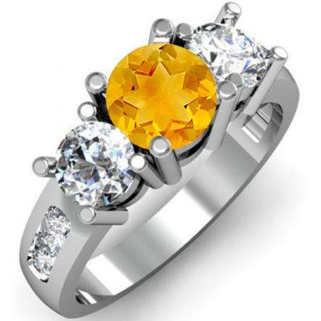 2.00 Carat (ctw) 18K White Gold Round Citrine & White Diamond Ladies 3 Stone Engagement Bridal Ring 2 CT