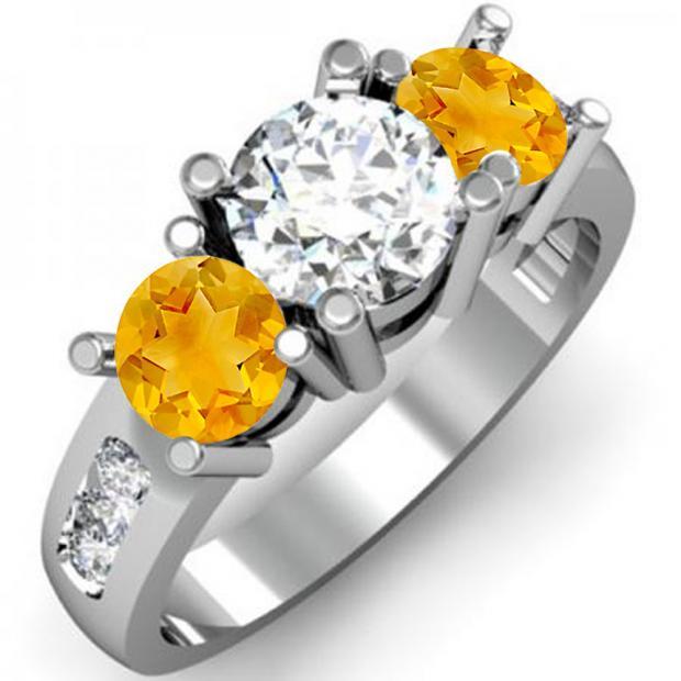 2.00 Carat (ctw) 18K White Gold Round Yellow Citrine & White Diamond Ladies 3 Stone Engagement Bridal Ring 2 CT