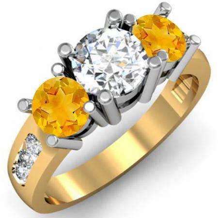 2.00 Carat (ctw) 18K Yellow Gold Round Yellow Citrine & White Diamond Ladies 3 Stone Engagement Bridal Ring 2 CT