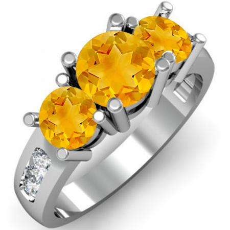 2.00 Carat (ctw) 14K White Gold Round Yellow Citrine & White Diamond Ladies 3 Stone Engagement Bridal Ring 2 CT