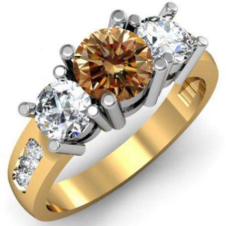 2.00 Carat (ctw) 14K Yellow Gold Round Champagne & White Diamond Ladies 3 Stone Engagement Bridal Ring 2 CT