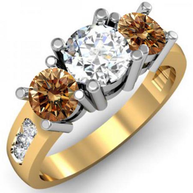 2.00 Carat (ctw) 18K Yellow Gold Round Champagne & White Diamond Ladies 3 Stone Engagement Bridal Ring 2 CT