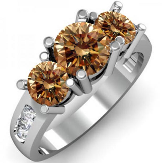 2.00 Carat (ctw) 18K White Gold Round Champagne & White Diamond Ladies 3 Stone Engagement Bridal Ring 2 CT
