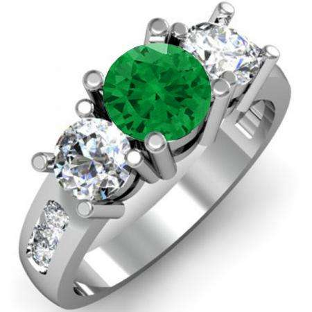 2.00 Carat (ctw) 18K White Gold Round Green Emerald & White Diamond Ladies 3 Stone Engagement Bridal Ring 2 CT