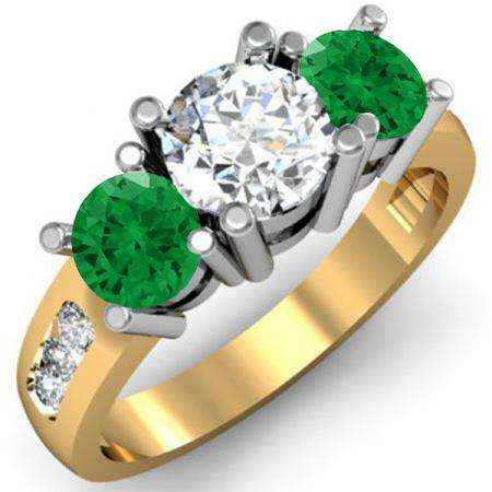 2.00 Carat (ctw) 10K Yellow Gold Round Green Emerald & White Diamond Ladies 3 Stone Engagement Bridal Ring 2 CT